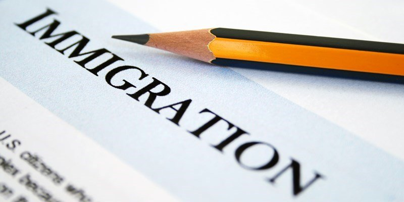 closeup of immigration form with pencil